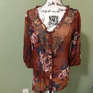 Women's brown floral blouse. Size M